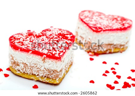 Two jelly heart-shaped cakes - stock photo