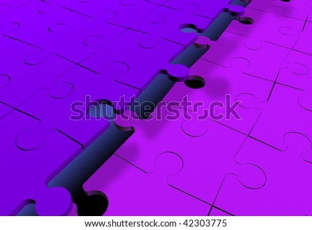 Two jigsaw puzzles attached - stock photo