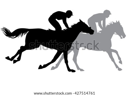 Two jockeys riding on horseback. Horse races. Competition. Silhouettes on a white background.