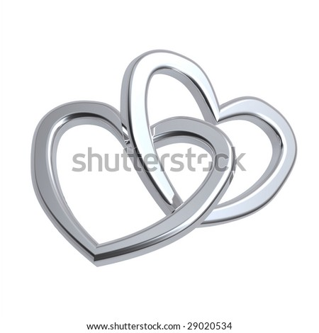 Two joined hearts of silver isolated on white. Computer generated 3d photo rendering. - stock photo