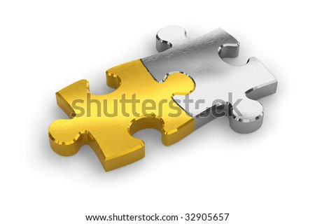Two joined puzzle pieces - stock photo