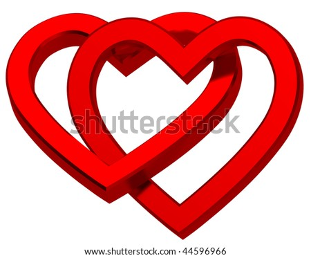 Two joined red hearts isolated on white. Computer generated 3d photo rendering. - stock photo
