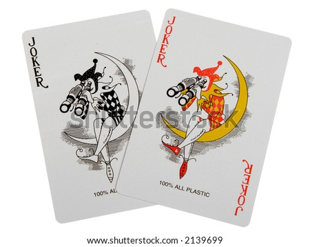 two jokers, isolated on white, clipping path included - stock photo