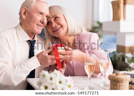 Two joyful senior people sharing a pleasant moment