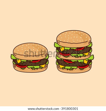 Two juicy delicious burgers isolated.