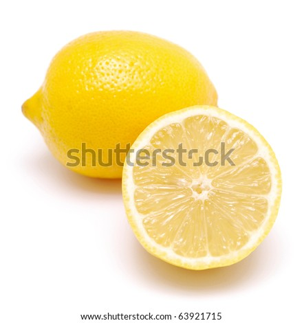 two juicy lemons isolated on a white background