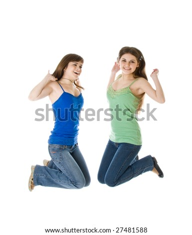 Two jumping girls. Isolated on white background - stock photo
