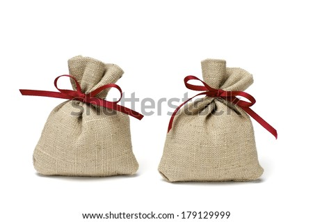 Two Jute Bags with Red Ribbon - stock photo