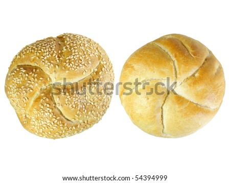 Two Kaiser rolls isolated over white background - stock photo