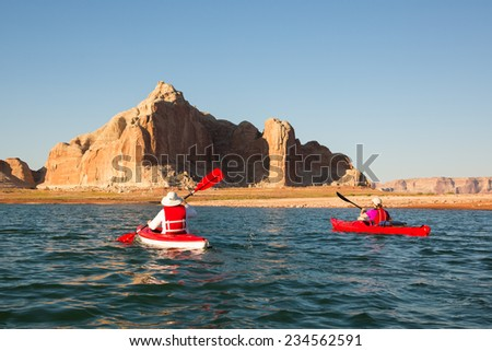 Two Kayakers Explore Lake Powell (Glen Canyon National Recreation Area)