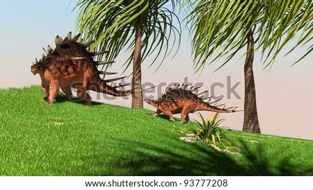two kentrosaurus in jungle - stock photo