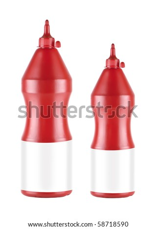 two ketchup plastic bottle with empty etiquette - stock photo
