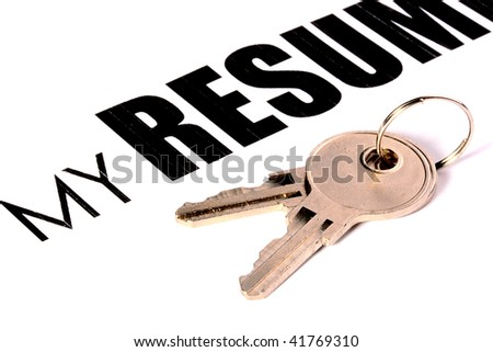 Two keys against a leaf with text My Resume. A creative with idea - open the resume. - stock photo