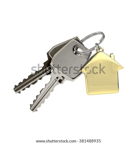 Two keys on a ring with a green plastic house chain. Concept of buying or renting a house, new home.  Photo-realistic illustration. - stock photo