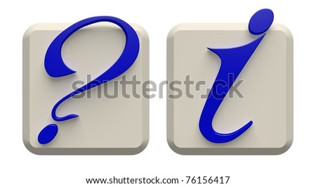 Two keys with symbols of the information and a question. - stock photo