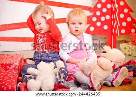 Two kids  - stock photo