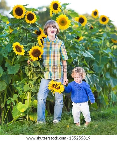 Two kids, a boy and a baby girl, playing together in a sunflower field - stock photo