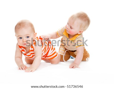 Two kids crawling, isolated
