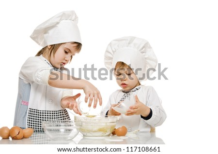 two kids in image of scullion on white - stock photo