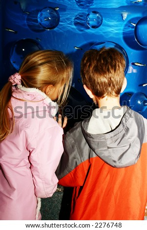 Two kids looking at fish in a tank of an aquarium. - stock photo