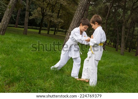 Two kids practicing judo outdoors in a park. - stock photo