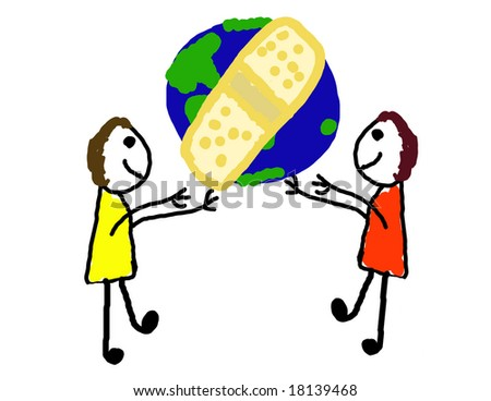 Two kids trying to bandage the world - stock photo