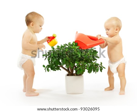 Two kids watering a plant together. White background. - stock photo