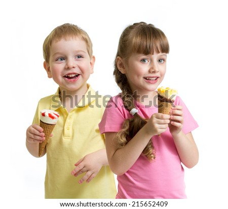 two kids with cone ice cream isolated on white - stock photo