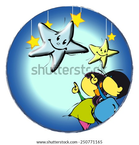 two kids with stars - stock photo