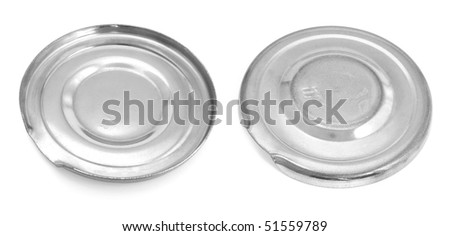 Two kinds of a lid for a can. Panoramic image from several pictures. The file has native resolution. The image contains a contour for cropping.