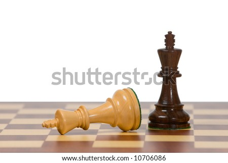 Two kings on a wooden chess board against a white background. - stock photo