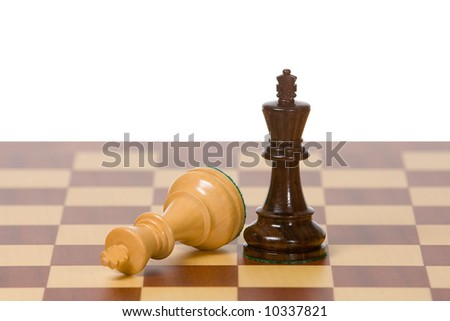 Two kings on a wooden chess board against a white background. A clipping path is included for easy extraction. - stock photo