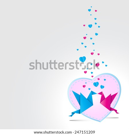 Two kissing origami birds. Love card concept Happy Valentines Day and heart shape  - stock photo