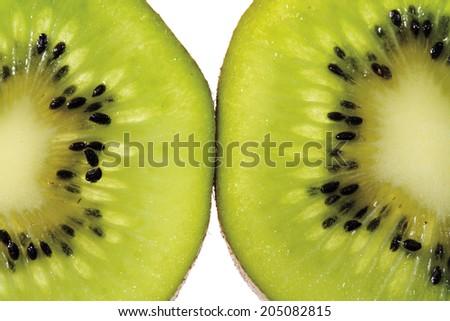 Two kiwi slices, close-up - stock photo