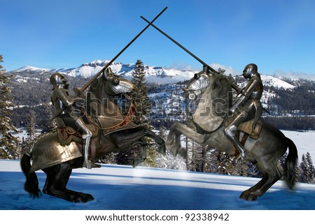 Two knights jousting in the snow - stock photo