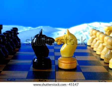 "Two knights with thier ""families"" watching - stock photo"