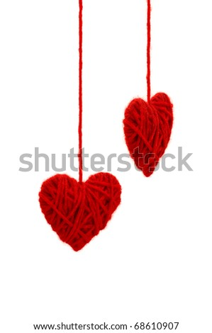 Two knitted hearts - stock photo