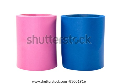 Two koozie drink holders isolated on white background with clipping path. - stock photo