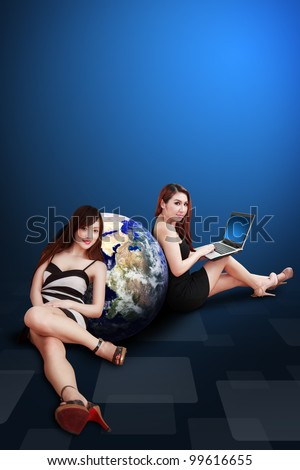 Two lady and the World beside : Elements of this image furnished by NASA - stock photo