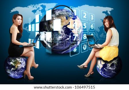 Two lady on communication world : Elements of this image furnished by NASA - stock photo