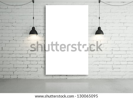 two lamps and blank poster on wall - stock photo