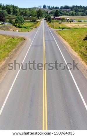 Two Lane Road, Astoria, Oregon - stock photo