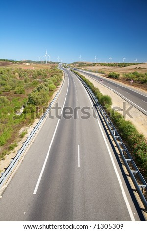 two lanes highway at Cadiz Andalusia in Spain - stock photo