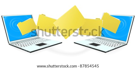 Two laptop computers with file, folder or documents transferring between each other - stock photo