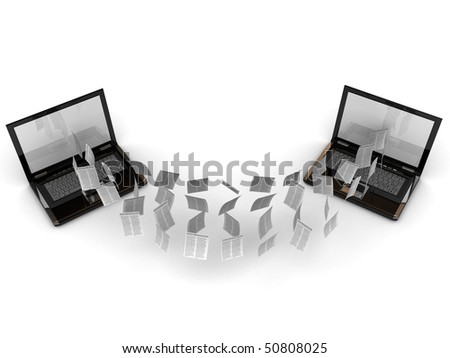 two laptops sharing their information - stock photo