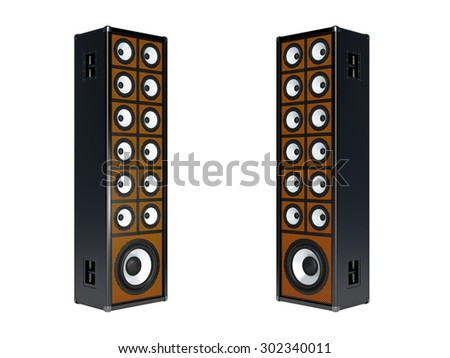 Two large audio speakers. Isolated on white - stock photo