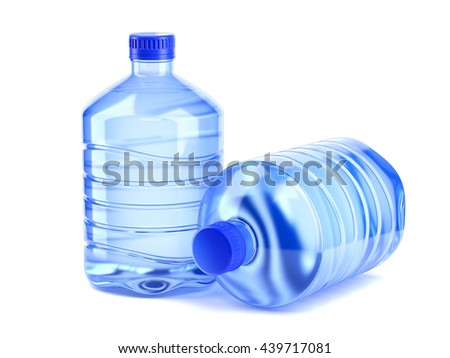 Two large bottle of water on a white background 3d rendering - stock photo