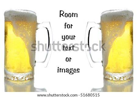 Two large glasses of beer in frosted mugs on white with reflections below and room for your text or images - stock photo