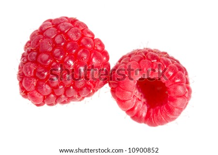 two large raspberry isolated on white background - stock photo
