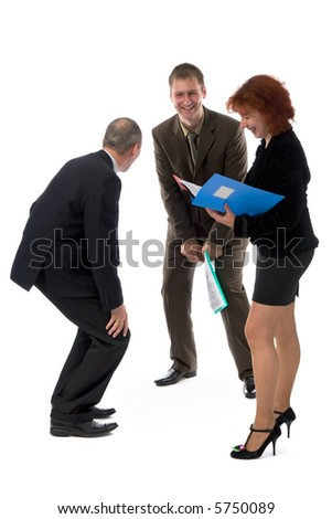 two laughing men and woman in office clothes with business folders in hands, isolated on white
